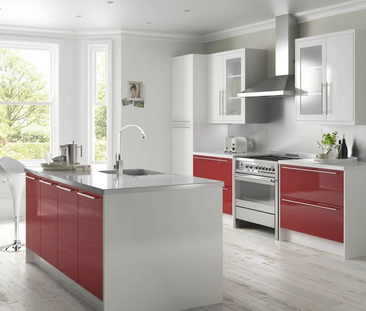 High gloss red and white | Kitchen ideas | Pinterest