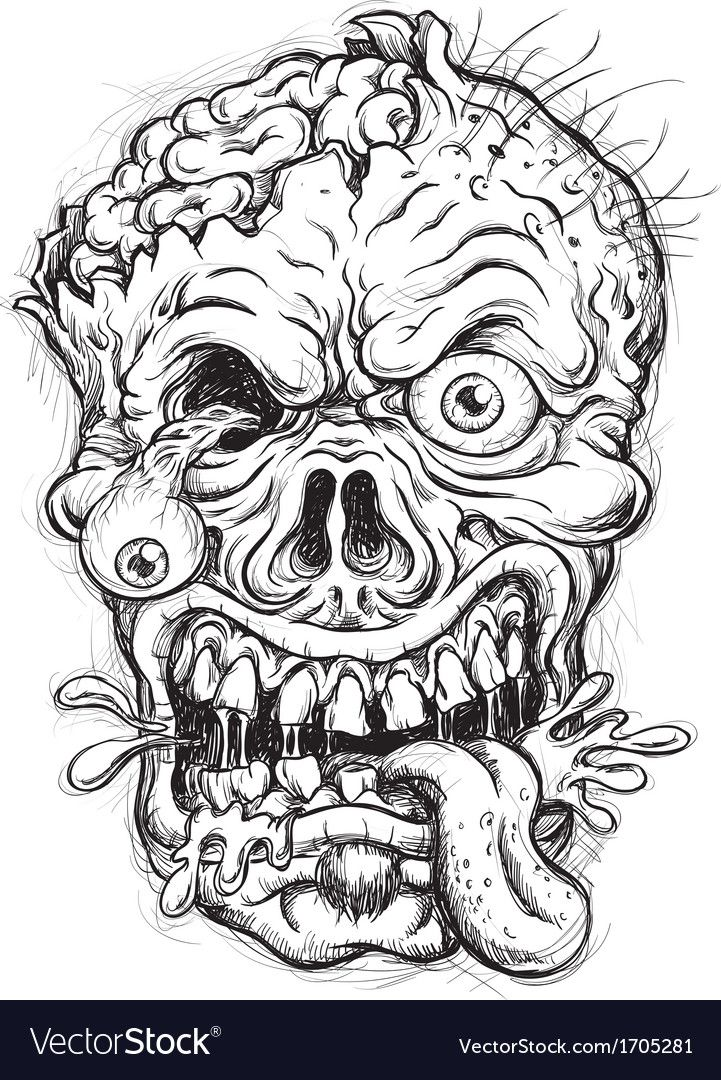 Sketchy Zombie Head Download A Free Preview Or High Quality Adobe Illustrator Ai Eps Pdf And High Resolutio Skull Coloring Pages Zombie Drawings Zombie Face