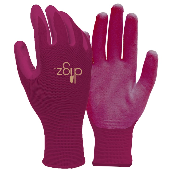 The Digz nitrile dip gloves are perfect for those with latex allergies.  The nitrile dip helps you hold on to tools and the breathable material on the back helps keeps your hands cool.  These gloves give you an improved grip while you work.  Get your Digz on!