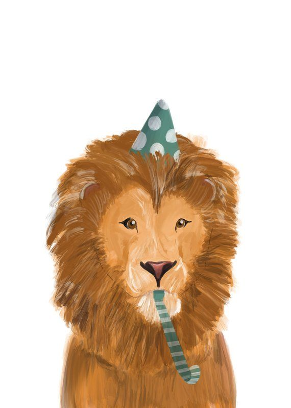 Birthday Card Happy Lion In Party Hat