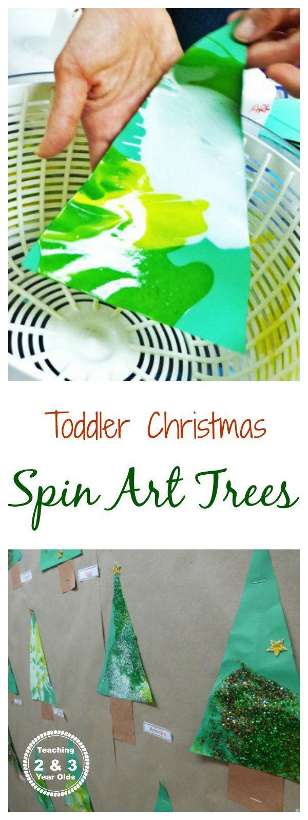 Easy Christmas spin art trees for toddlers - process art that also makes a nice classroom bulletin board display!