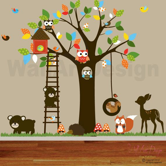 Vinyl Wall Decal Stickers Swing Tree Set With Owls Birds