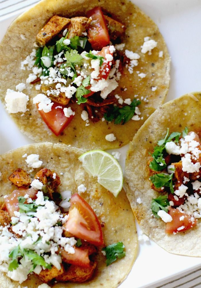 Chili Garlic & Lime Taco Recipe with Cilantro and Queso Fresco make a great healthy weeknight dinner your family will love   Rainbow Delicious