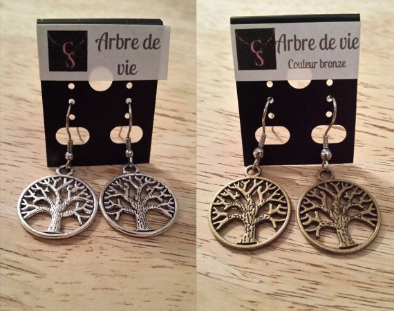 Necklace/Tree of life earring bronze or silver / Boucle