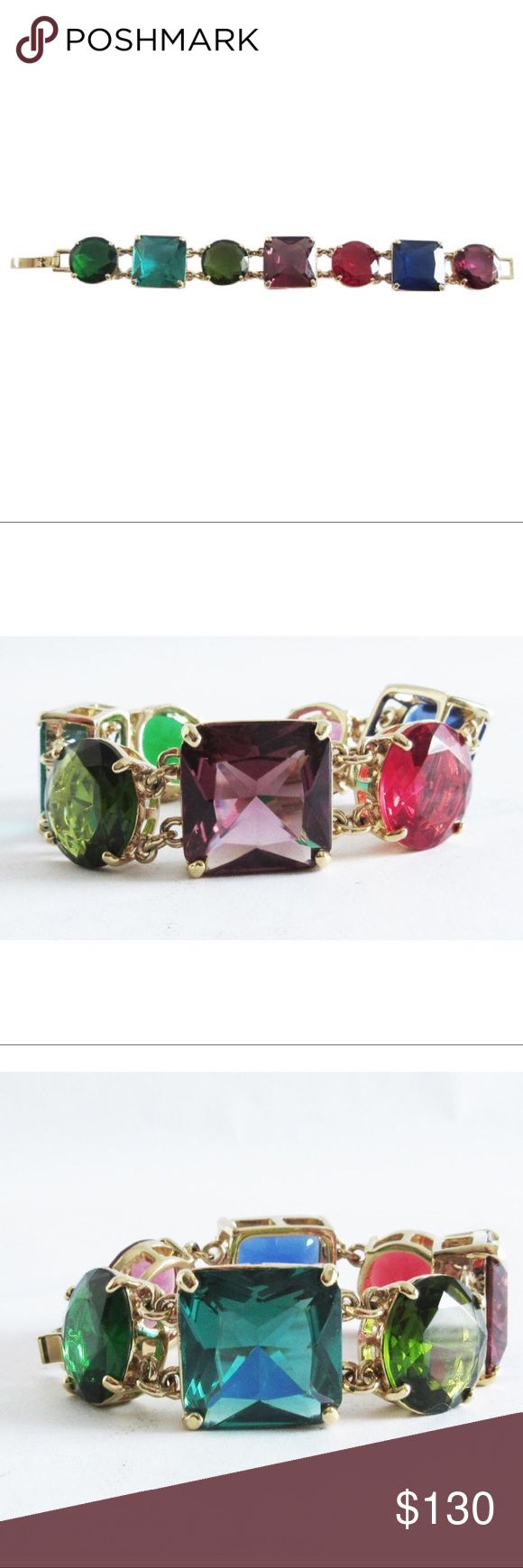 """KATE SPADE New York Crystal Kaleidoscope Jumbo KATE SPADE New York """"Crystal Kaleidoscope"""" Jumbo Link Bracelet  Faceted resin & 12k gold plated brass Fold over closure. 7.5""""L. Excellent, pre-owned condition Beautiful, bold, colorful statement bracelet by Kate Spade. No Trades kate spade Jewelry Bracelets"""