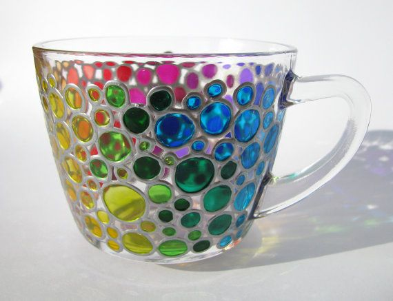 Hand painted Coffee Mug Coloured Bubbles  Glass cup by ArtMasha