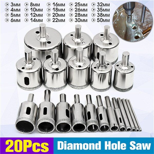 Doersupp 20pcs 3 50mm Diamond Drill Bits Set Hole Saw Cutter Tool Glass Marble Granite Top Quality Review Drill Bit Sets Drill Bits Glass Ceramic