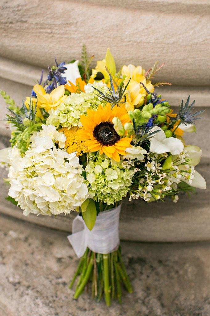 Sunflower and Hydrangea Bridal Bouquet | Vintage Twin Cities Jewish Wedding