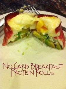 No Carb Breakfast Protein Rolls with bacon, avocado, egg, and cheese | Our Life In Four Bags
