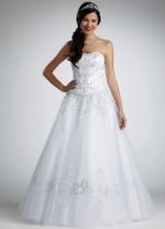 David's Bridal Wedding Dress: Petite Strapless Tulle Ball Gown with Satin Bodice Style 7NTWG9927