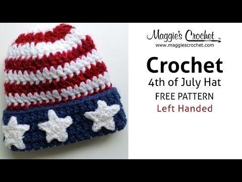 Patriotic Hat Free Crochet Pattern from Maggie Weldon - Left Handed - YouTube