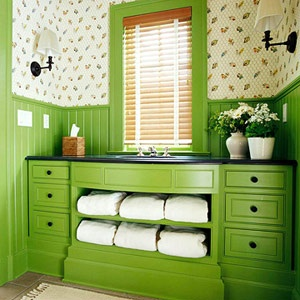 Tremendous! Totally unique and awesome. You could do it with any color combination!: Bathroom Rules, Bold Bathroom, Sinks Bathroom, Beautiful Bathroom, Green Bathroom, Bathroom Ideas, Green Colors, Home Bathroom, Bath Rooms