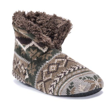 MUK Luks Men's Slipper Booties, Size: L/XL (11-13), Brown
