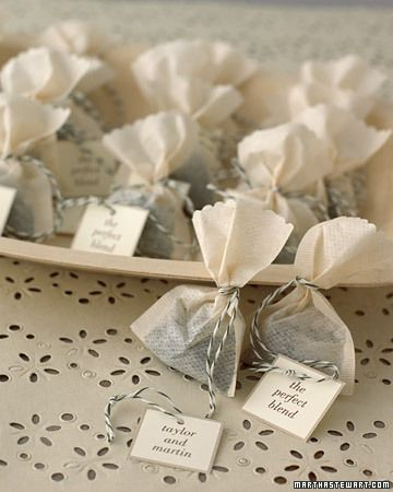 Tea Sachet DIY Favors: Buy loose tea in bulk, trim the tops of tea bags with scalloping scissors, and fill with one teaspoon of tea. Tie with baker's twine. Print a personalized message onto card stock, and cut out. Punch a hole, thread onto twine, and knot.