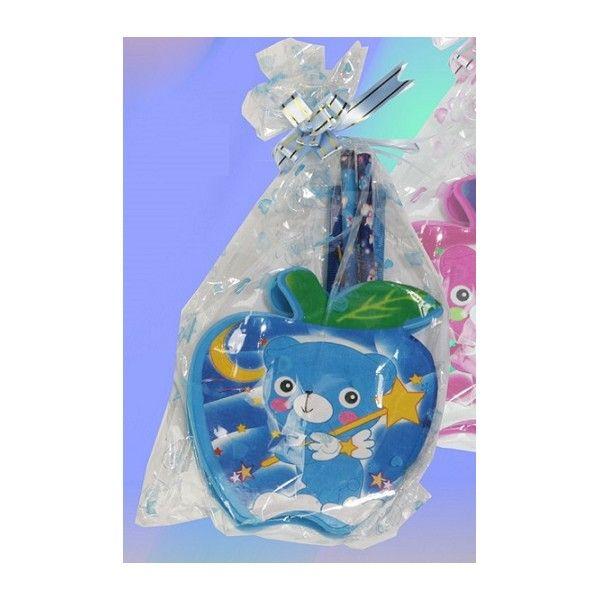 Portalapicero infantil manzana.Color azul o rosa.Sacapuntas, regla, tijera,dos lapiceros y portalápices. Incluye personalización y etiqueta personalizada gratuita.