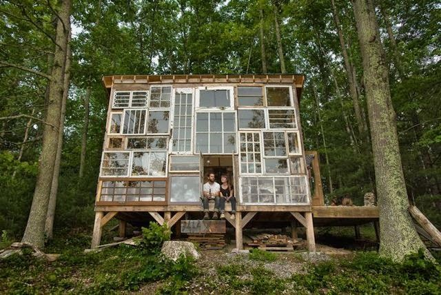 500 dollar cabin in the woods built by two artists…love.