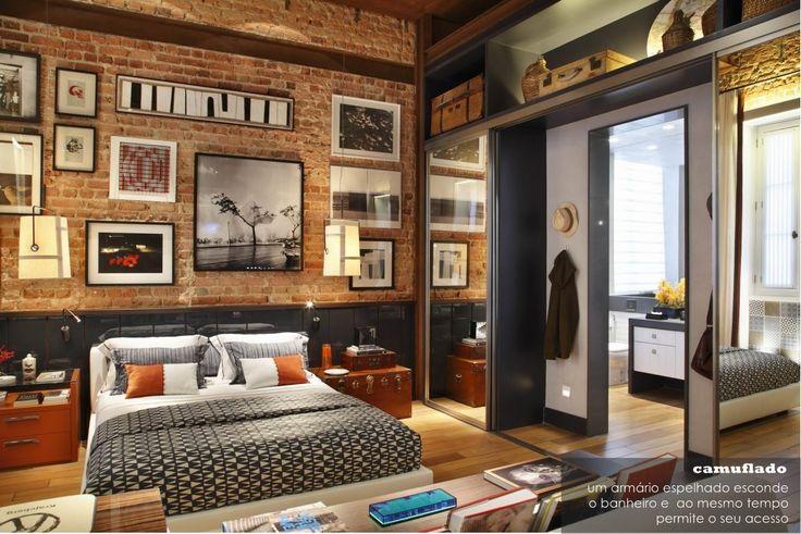 casa-bellissimo-blog-arquitetura-design-decoracao-urbanismo-loft-rio-de-janeiro-casa-cor-apartamento-masculino-rusticos-tijolos-demolicao-3.jpg (1151×768) #rustico #tijolinho #bedroom