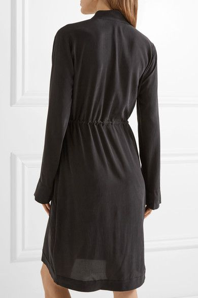 Equipment - Stacy Washed-silk Wrap Dress - Black