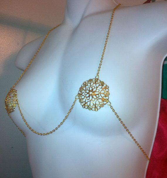 Gold Metal Pasties Chain Bikini Top Cosplay Burlesque Exotic Slave Fantasy Fetish Erotic Gold Dancer Roleplay Stripper Lingerie Body Jewelry...
