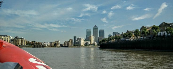 One Canada Square, Canary Wharf in the distance, from the Thames