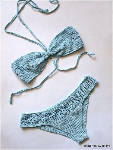 TRICO y CROCHET-madona-mía: Biquini a crochet paso a paso con hilo elástico.