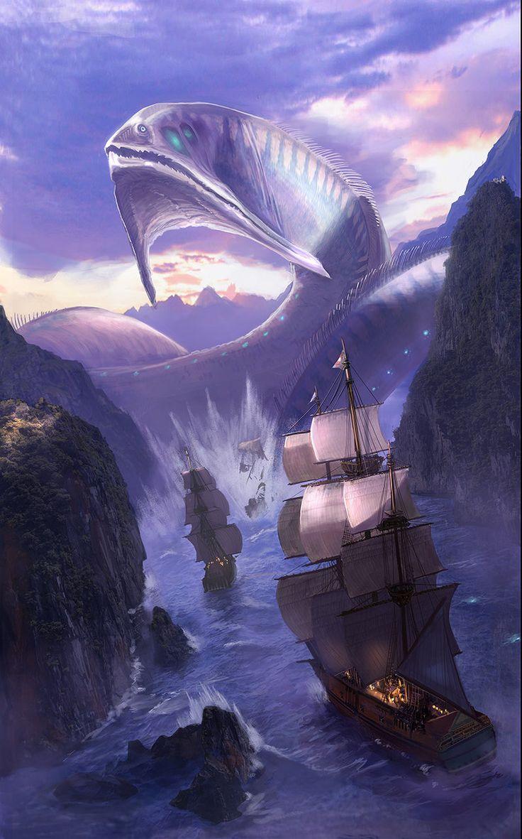 One of Cawen's sea monsters (?) [Bakunawa by EstevesLuis.deviantart.com on @DeviantArt]