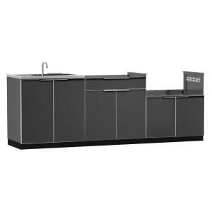 NewAge Products Aluminum Slate 3 Piece 97x36x24 In. Outdoor Kitchen Cabinet  Set Without Counter Tops