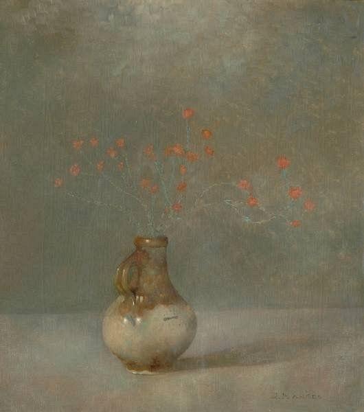 Kruikje met dopheide Jaar 1911 Soort werk Schilderij Afmetingen hxb 405 x 365 mm Signatuur r.o.  J.Mankes