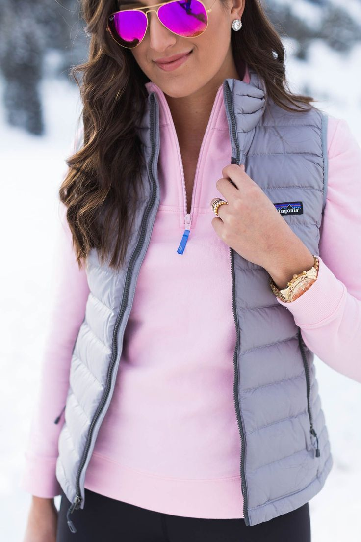 vineyard vines shep pullover, pink quarter zip,  patagonia packable down sweater vest, winter outfit ideas // grace wainwright from @asoutherndrawl