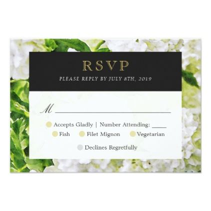 White Hydrangea Wedding RSVP Reply Card - gold wedding gifts customize marriage diy unique golden