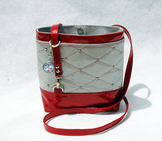 White & Red Glitter Vinyl Crossbody Bag by KwaintAccessories