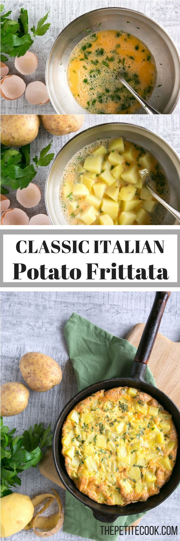 Classic Italian Potato Frittata is the easiest meal you can make: eggs, potatoes and fresh herbs come together for a quick dinner the whole family will love! Plus it's awesomely #vegetarian and #glutenfree - Recipe by The Petite Cook