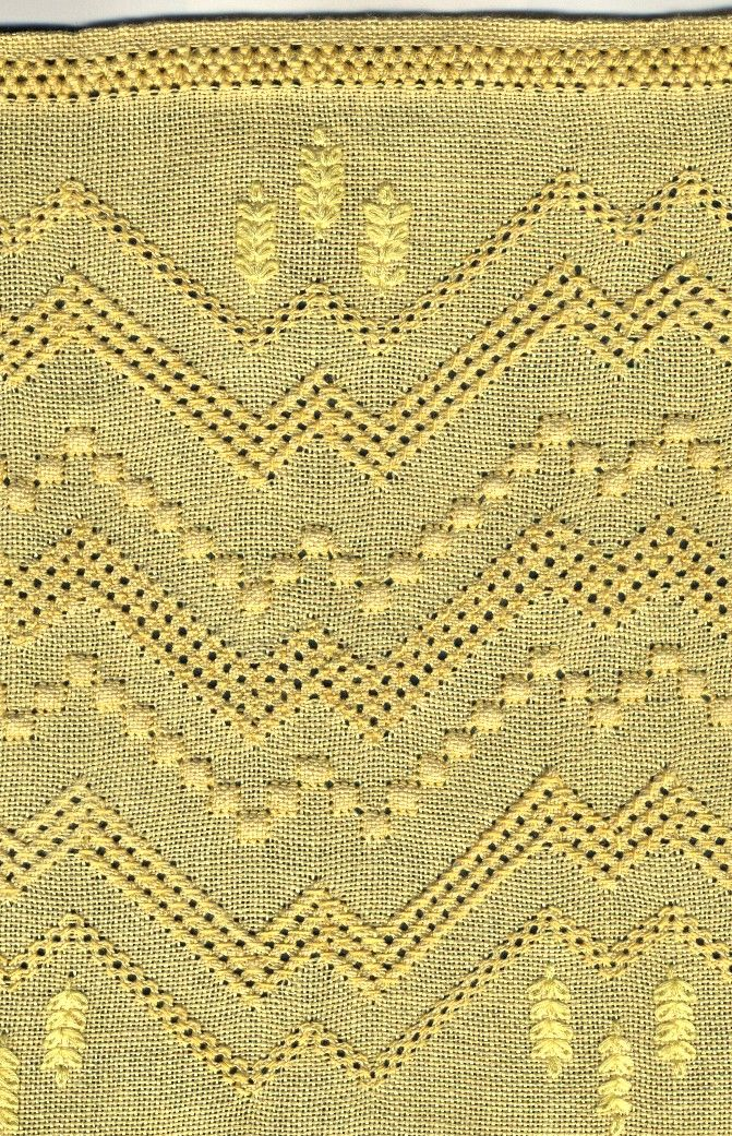 Pulled thread embroidery, by lunxlace.