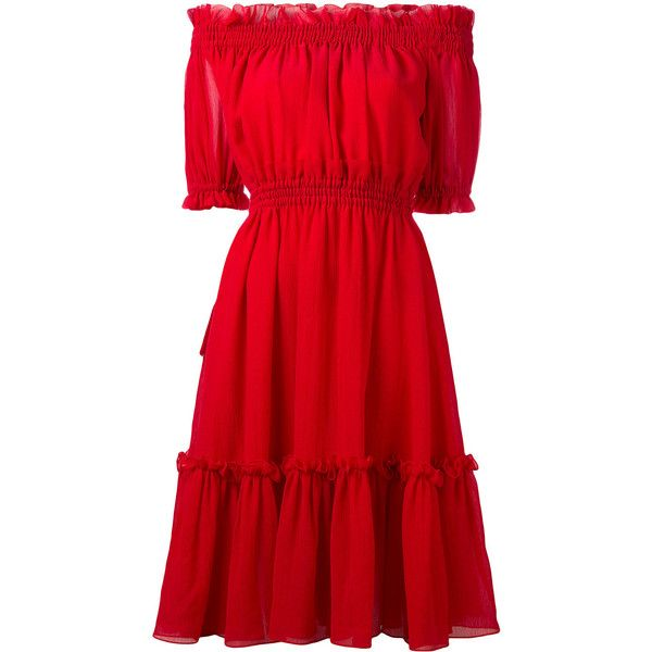 Alexander McQueen off the shoulder dress ($1,737) ❤ liked on Polyvore featuring dresses, red, red short sleeve dress, red dress, off the shoulder dress, ruffle neck dress and short-sleeve dresses