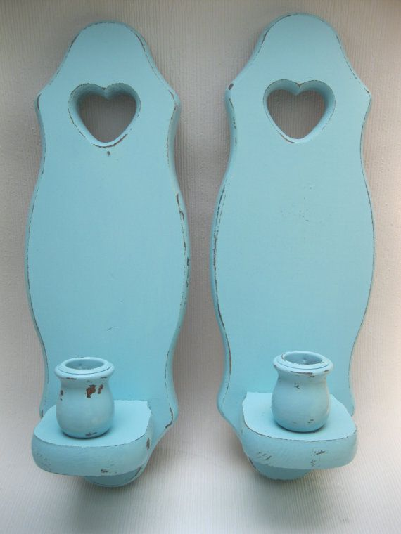 Turquoise Distressed Wood Wall Candle Holder with Heart -- shabby chic, cottage chic