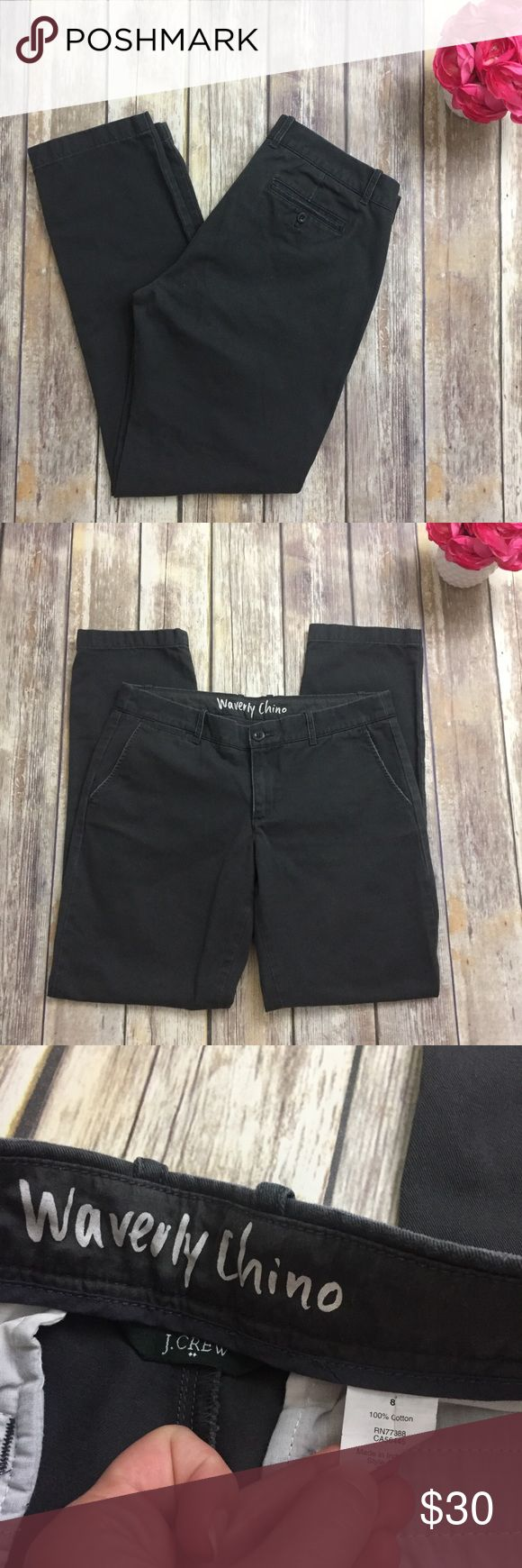 """J Crew Waverly Chino Pants in Charcoal Gray J Crew """"Waverly Chino"""" in a charcoal gray color and size 8. Excellent condition with no flaws. Approximate measurements are: waist 32"""", inseam 31"""". ⚓No trades or holds. I negotiate only through the offer button. Any measurements listed are approximate since I am not a seamstress. 🚭🐩T4 J. Crew Pants Trousers"""