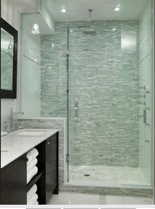 mosaic tile shower accent wall - Sarah