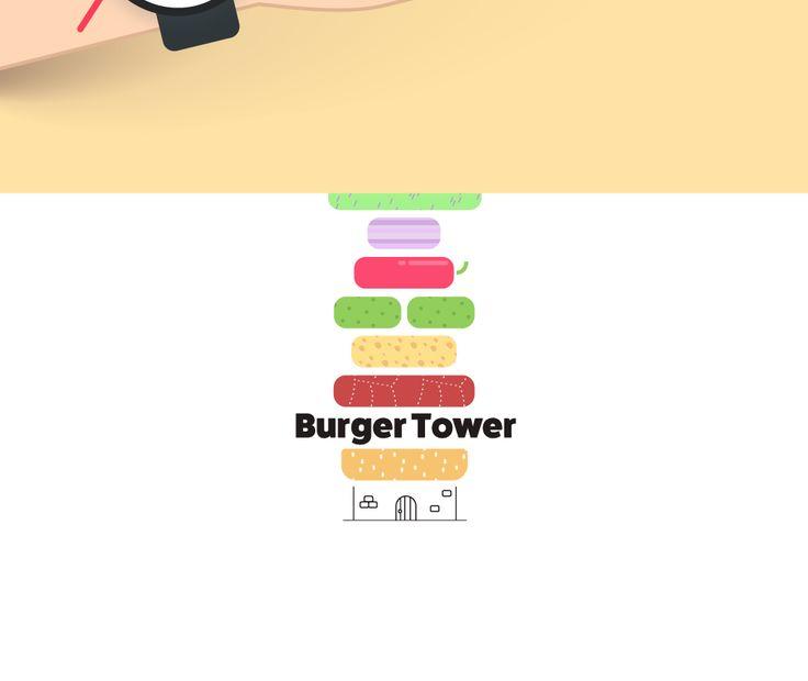 Третий тур / Задача 2. В основу работы конструктора закладываем простой принцип: бургер — это башня. Стилизуем все ингредиенты, получаем строительные блоки.  Механика постройки башни прозрачна, управление конструктором интуитивно.