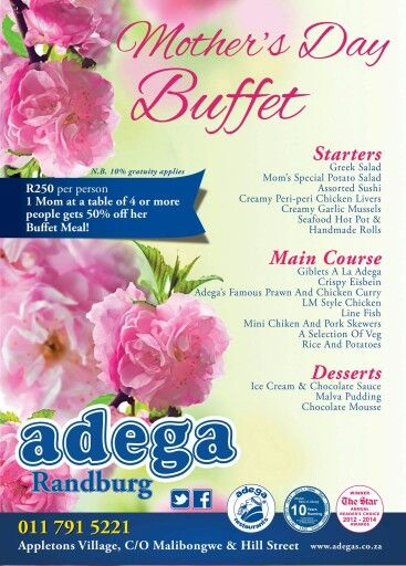 Celebrate all the Mother's in your life, whether she is your Mom, your wife, your sister, your daughter, your Aunt, your Grandmother or any Special Mom. Spoil them this Mother's Day at Adega Randburg with our Special Mother's Day Buffet for just R250pp. 1 Mom per table of 4 gets 50% off her Buffet Meal.  Our A La Carte Menu available as well. Please Call 011 791 5221 for reservations. Traditional Portuguese Cuisine. Always Good. Always Open. #MothersDay
