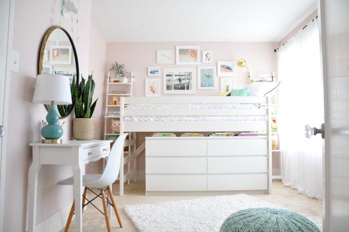 Modern Junior Loft Bed Pink Walls Benjamin Moores Wild