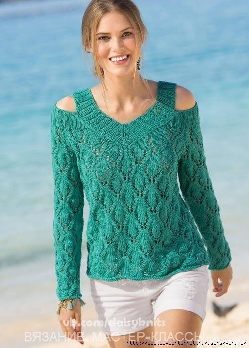 Пуловер с открытыми плечами (Вязание спицами) | Журнал Вдохновение Рукодельницы