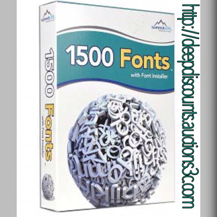 Summitsoft 1500 Fonts Software w/Font Installer $3.97 You save 60% off the regular price of $9.99  Summitsoft 1500 Fonts software features 1500 high quality TrueType fonts that are perfect for business cards, scrapbooks, newsletters, invitations, greeting cards, presentations and other creative projects. It features Font Installer which lets you quickly preview and install fonts while protecting system fonts from accidental deletion.   Visit: http://deepdiscounts.auctions3c.com today!