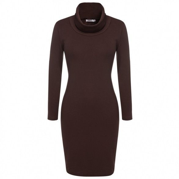 Women Fashion Casual Slim Cowl Neck Long Sleeve Knit Bodycon Dress
