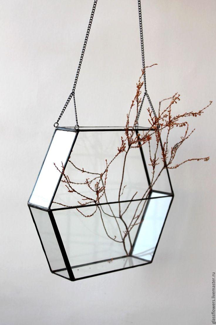 Купить Флорариум. Геометрический подвесной флорариум на цепочке - ваза для интерьера, ваза для флорариума, террариум для растений
