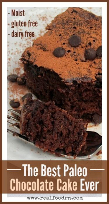 The Best Paleo Chocolate Cake Ever. Moist and fluffy just like regular chocolate cake! However, it's gluten-free, dairy-free, sugar-free, full of protein, and delicious!  realfoodrn.com