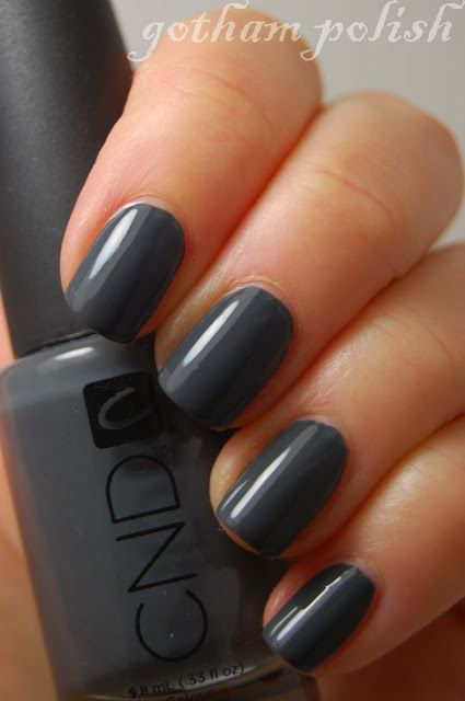 """CND's """"Asphalt"""" nail polish/gel is a beautiful steely deep gray. Love this in the fall!"""