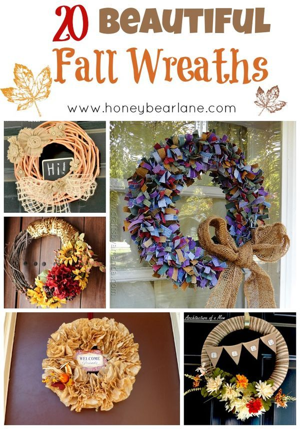 20 beautiful fall wreaths - this DIY decor brings so much fun into the home! If you love crafts, this is one of the best ones for Fall or Christmas! It makes a great decoration for the front door or on any wall that needs some life or flowers breathed into it!