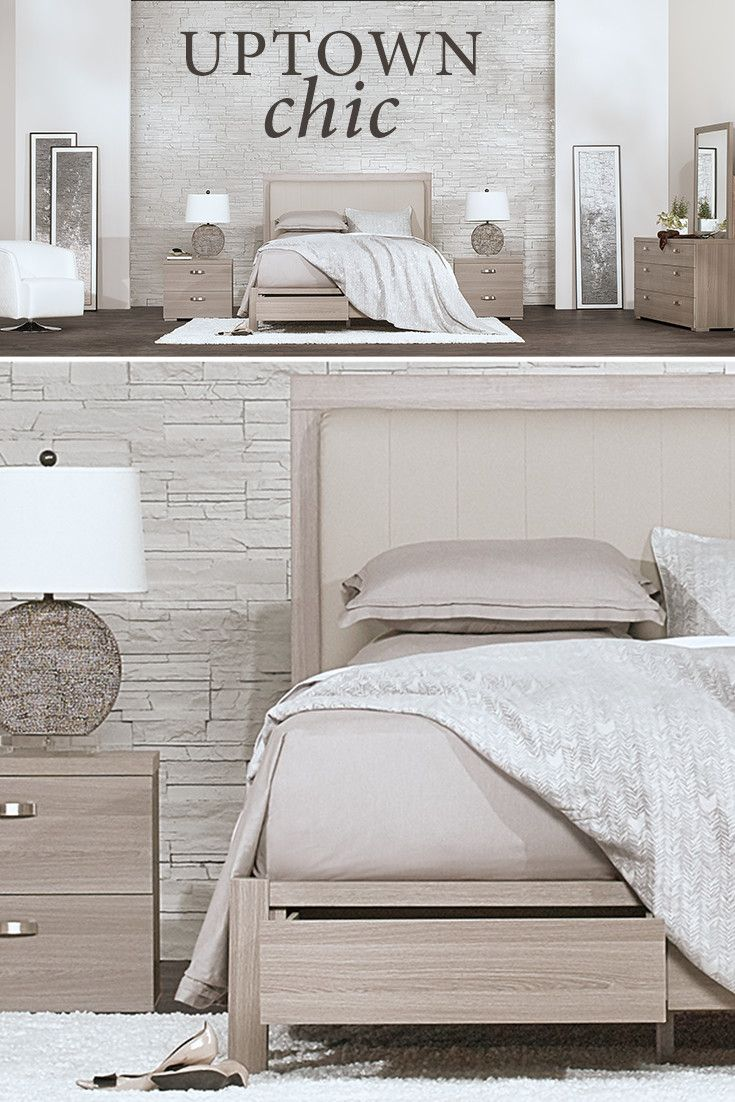 Chic style and modern design come together in the Caelan bedroom set. Enjoy fully finished drawer interiors, underbed storage, upholstered headboard, thick bar pulls, and contemporary block feet.