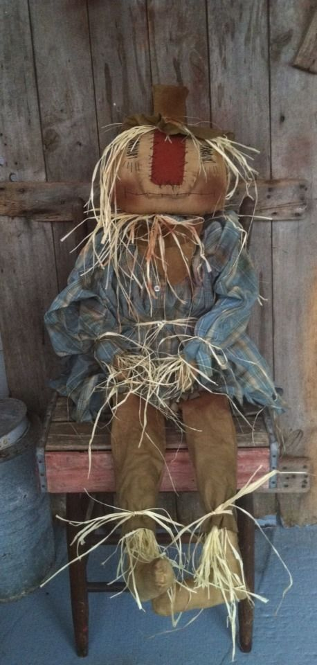 "Primitive FOLK ART FALL HALLOWEEN SCARECROW DOLL Large 51"" tall Grungy #NaivePrimitive"