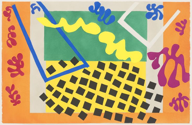 9/30/16 http://www.moma.org/collection/works/105389?locale=en Henri Matisse uses the complementary colors of blue and orange as well as purple and yellow in the pochoir, The Codomas from Jazz. I like the simplicity of this piece and how loud the colors are.